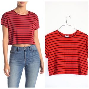NWT SPLENDID SIZE LARGE CROP TEE RED/BLACK STRIPES
